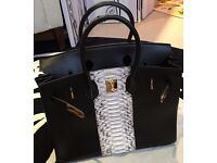 Unique Hermes Club Birkin 35cm Black Box Leather and Python Exotic Leather Gold Hardware