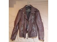 Boda Skins Leather Jacket (Bordo Color) Mens large, EXCELLENT CONDITION LIKE BRAND NEW