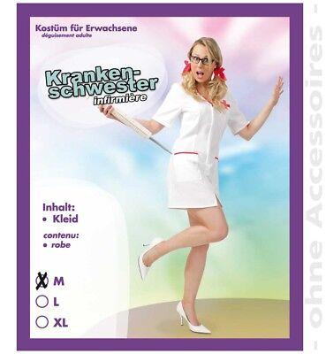 Sexy Krankenschwester Kostüm M L XL 38-44 Kleid weiß Ärztin Kreuz Rot - Rot Kreuz Krankenschwester Kostüm