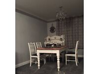 Shabby chic farmhouse dining table and 4 chairs