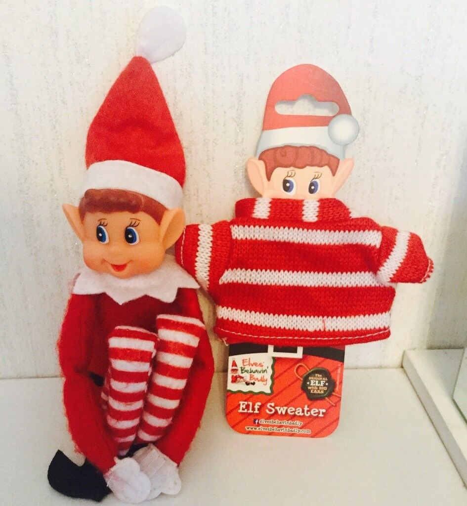 Elf behaving badly with wee jumper