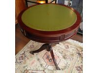 Attractive Mahogany Leather Topped Drum table - WE CAN DELIVER