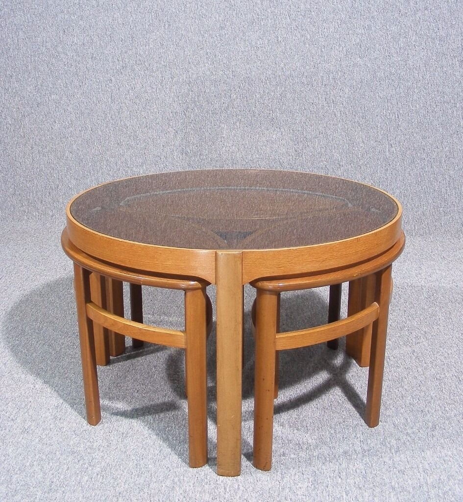 Retro light teak circular glass top coffee table nest of tables by - Vintage Retro Teak Glass Top Nathan Petal Nesting Coffee Tables