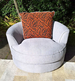 A New Light Grey Fabric Material Swivel Love Chair