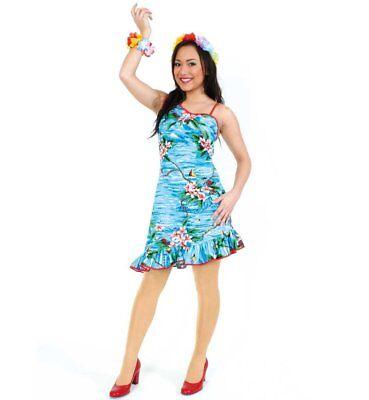 Damenkostüm Hula, Hawaii, Strand, Blumenkleid, halblang, farbenfroh, - Kostüm Blume