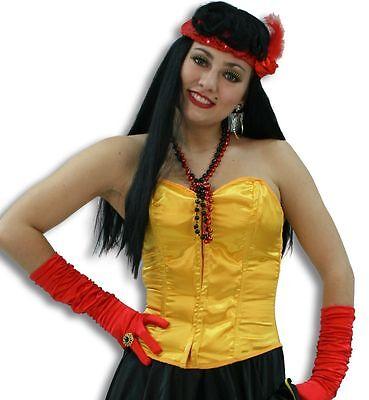 Satin Corsage gelb Gr. 36 - 46 Korsett Showtanz Biene Kostüm Fasching - Korsett Tanz Kostüm