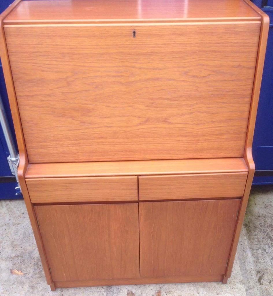 Retro teak writing bureau free delivery