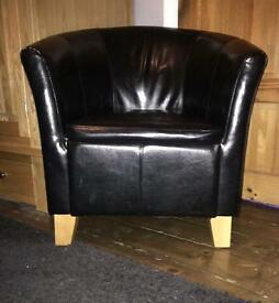 Real leather tub chair