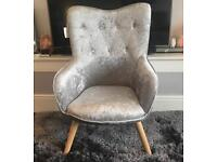 Brand New Crushed Silver Velvet Accent Chair