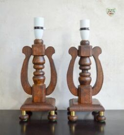 Pair Table Lamp Stands, Harp Shape Mid Century Rare Solid Wood Table Lamps with Brass Legs