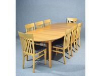 Fabulous Large Danish Denka Extending Dining Table Chairs listed Seperateley