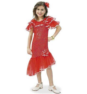 Flamenco Tanz Kostüme Mädchen (Dolores 116-164 Flamenco Spanierin Kostüm Kleid rot Tanzkleid Mädchen 1211074G13)
