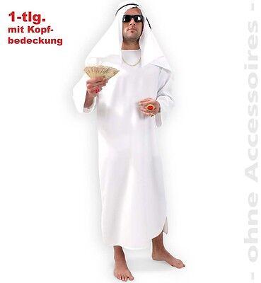 Fasching Scheich 1-tlg. Kostüm mit Kopfbedeckung Gr. L Araber Orient - Arabische Scheich Kostüm Kopfbedeckung