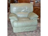 Manual Reclining Armchair in Light Green Leather