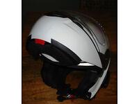 Schuberth C3 Basic Flip Helmet, Gloss White, Scala Rider & Drift Video Cam
