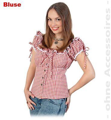 Bayernbluse Dirndlbluse Kostüm 36-44 Damenbluse weiß-rot Oktoberfest - G Fest Kostüme
