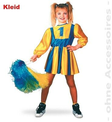 Cheerleader Kostüm 116-164 gelb/blau Fasching Karneval Tänzerin - Cheerleader Kostüm Blau Gelb