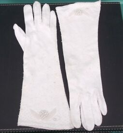 Pair Vintage Beaded Wedding Gloves