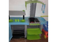 Excellent condition Play kitchen with trolley & accesories.Plays cooking noises & speaks.Tap missing