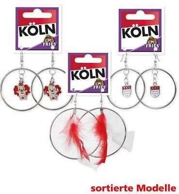 1 Paar Ohrringe Creolen Köln sortiert Clown rot/weiß Kostüm (Hippie Paar Kostüm)