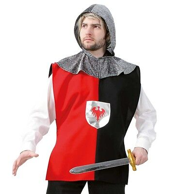 Ritter Kostüm L + XXL Überwurf mit Kapuze Schwertkämpfer Ritterkostüm 12152213 (Schwert Kämpfer Kostüm)