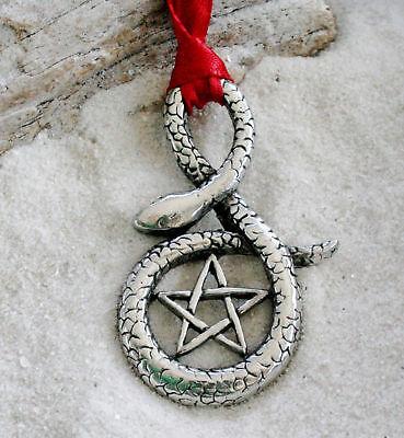 PENTAGRAM SNAKE PAGAN Pewter Christmas ORNAMENT Holiday ()
