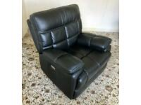 Electric Recliner VComfortable TV Gaming ArmChair Black Deep Soft Leather ManyPosns Incl nrFlat £200