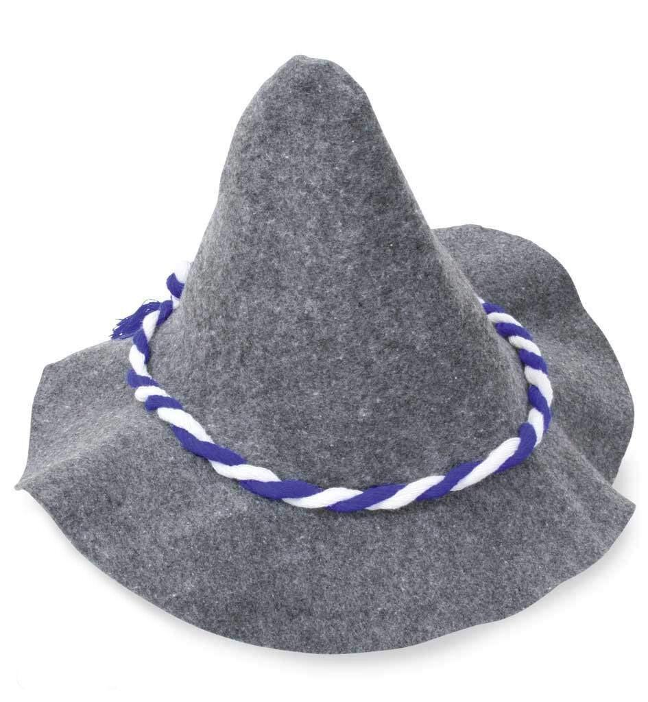 Seppel-Hut grau Kordel blau-weiß Oktoberfest Wiesn Sepplhut 5 Stück 129910413F