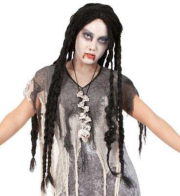 Lange Schwarze Haare, Perücke Halloween (Perücke Zombie Freaky Langhaar schwarz Hippie Halloween Ghouls Dreads 123568613)