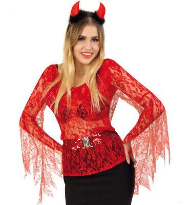 KarnevalsTeufel Teufelsbluse Oberteil Rot Dämonisch Unterwelt Spitze - Unterwelt Kostüm