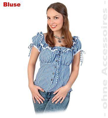 Bayernbluse Dirndlbluse Kostüm 36-44 Oktoberfest Damenbluse blau-weiß - G Fest Kostüme