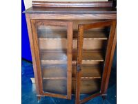 Victorian, oak glass fronted bookcase / display cabinet