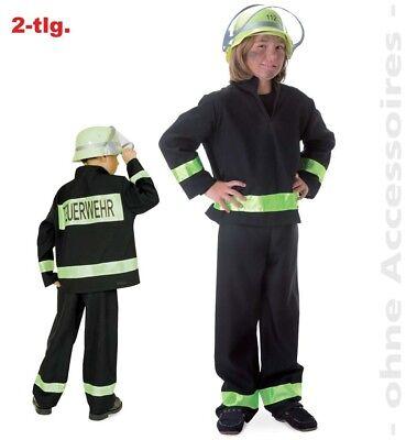 Fasching Feuerwehrmann Feuerwehr Kostüm schwarz 2-tlg. Gr. 116  Karneval NEU (Schwarz Feuerwehrmann Kostüme)