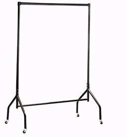HEAVY DUTY WIDE CLOTHES RAILS GARMENT FOR HOME SHOP STORAGE DISPLAY 4FT IN BLACK