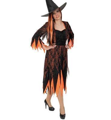 KarnevalsTeufel Hexe 2. Wahl Kleid Schwarz Orange Spinnennetz - Spinnennetz Hexe Kostüme
