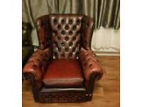 Oxblood Chesterfield Arm Chair For Sale