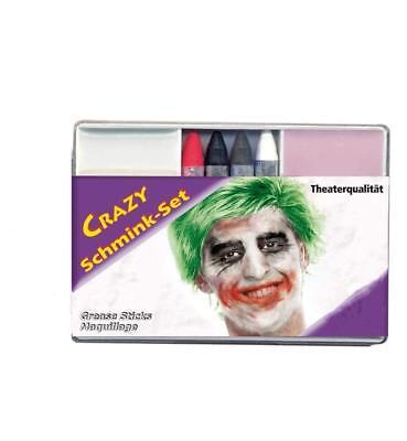Schmink-Set Crazy Theaterqualität Make up Halloween Schminke Clown 123051513
