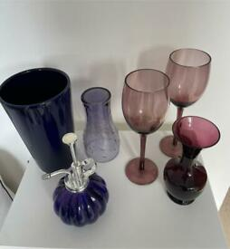 A Collection of 6 pieces of Purple/Blue Glassware