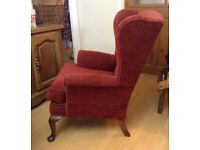 QUEEN ANNE STYLE WING BACK ARMCHAIR EXCELLENT CONDITION £80