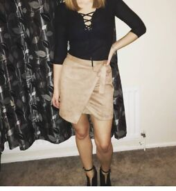 Size 6 Faux suede tan river island skirt