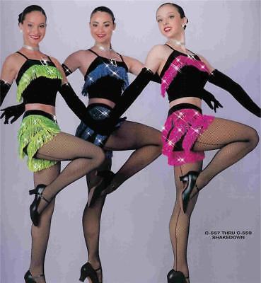 Dance Costume Jazz Skate Tap two piece fringe shorts Shakedown
