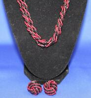 VINTAGE BEADED ROPE NECKLACE  & CLIP ON EARRINGS