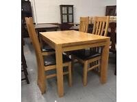 ** SOLID WOOD 1 YEAR OLD DINING TABLE & CHAIRS **