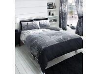 Black grey and white king size New York City skyline king size duvet bedding set