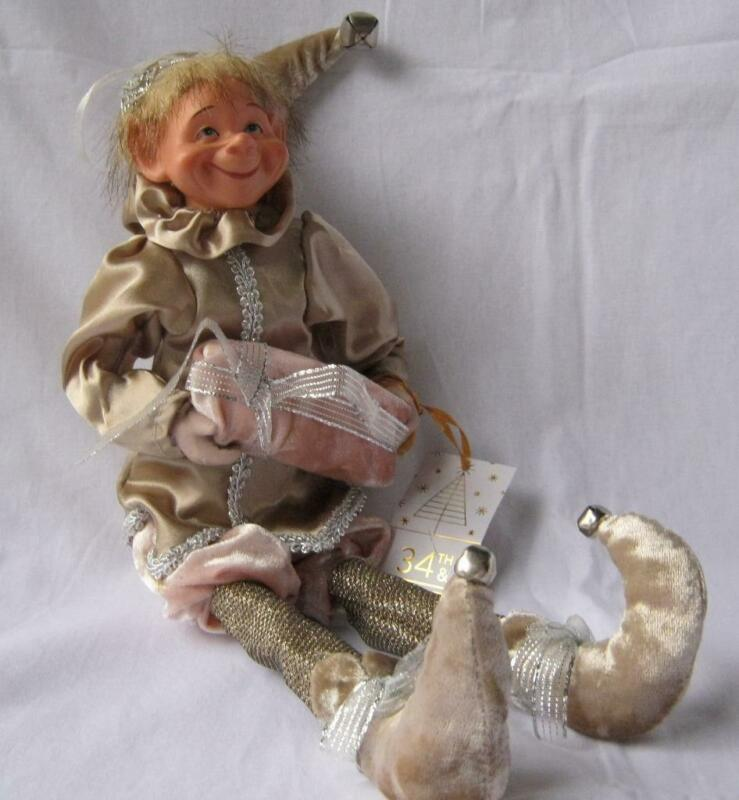 CHRISTMAS ELF DOLL Bendable Arms and Legs Gold Pink accessorized