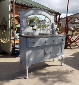 Painted Grey Mirror Backed Shabby Chic Sideboard