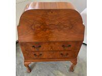 Vintage Queen Anne Style Burr Walnut Writing Bureau