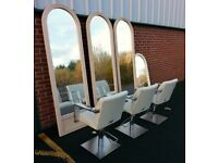 Hairdressing, 3 x Hydraulic Chairs, 3 x Styling Mirrors, 1 x Dressing Mirror, £500 ono