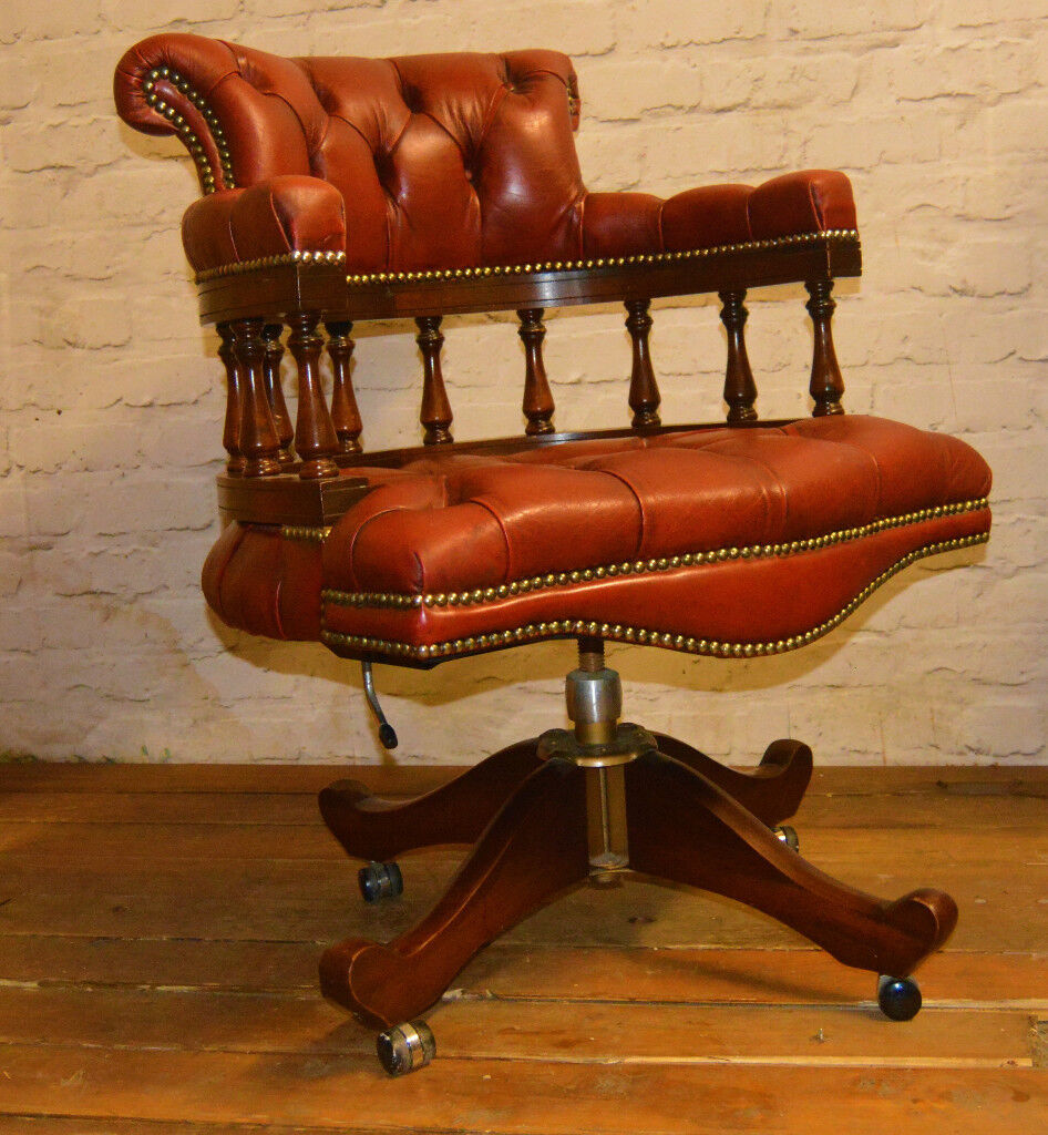 8949c9b422d5 Chesterfield captains swivel office chair wooden desk vintage leather  antique seating oxblood