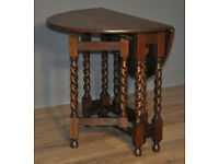 Attractive Small Vintage Oak Barley Twist Turned Gate Leg Drop Leaf Side Table